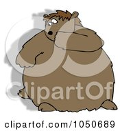 Royalty Free RF Clip Art Illustration Of A Chubby Groundhog Looking Back At His Shadow by Dennis Cox