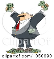 Royalty Free RF Clip Art Illustration Of A Wealthy Man With Tons Of Cash by djart