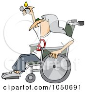 Hippie Man In A Wheelchair Holding Up A Lighter