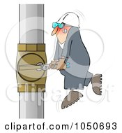 Royalty Free RF Clip Art Illustration Of A Worker Trying To Adjust A Pipe With A Small Wrench by djart