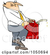 Royalty Free RF Clip Art Illustration Of A Businessman Carrying A Gas Can