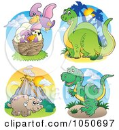 Royalty Free RF Clip Art Illustration Of A Digital Collage Of Dinosaur Logos 2 by visekart