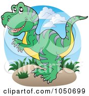 Royalty Free RF Clip Art Illustration Of A Tyrannosaurus Rex Logo by visekart
