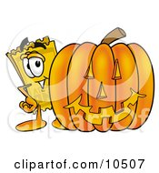 Yellow Admission Ticket Mascot Cartoon Character With A Carved Halloween Pumpkin