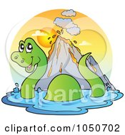Royalty Free RF Clip Art Illustration Of A Swimming Brontosaurus Logo by visekart