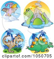 Royalty Free RF Clip Art Illustration Of A Digital Collage Of Dinosaur Logos 1 by visekart