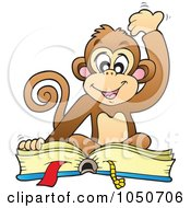 Royalty Free RF Clip Art Illustration Of A Monkey Reading A Book