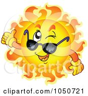 Royalty Free RF Clip Art Illustration Of A Sun Character Winking And Holding A Thumb Up
