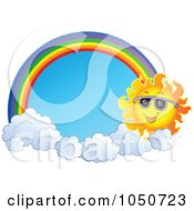 Royalty Free RF Clip Art Illustration Of A Summer Sun With Clouds And A Rainbow Framing Blue Sky