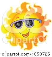 Royalty Free RF Clip Art Illustration Of A Sun Character Wearing Purple Shades