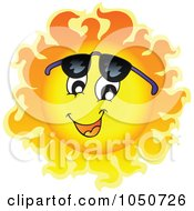 Royalty Free RF Clip Art Illustration Of A Sun Character Looking Under Shades