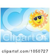 Royalty Free RF Clip Art Illustration Of A Background Of A Summer Sun And Clouds
