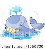 Royalty Free RF Clip Art Illustration Of A Happy Blue Whale by visekart