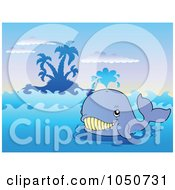 Royalty Free RF Clip Art Illustration Of A Happy Blue Whale Near An Island