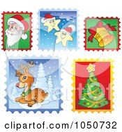 Royalty Free RF Clip Art Illustration Of A Digital Collage Of Christmas Postage Stamps 2