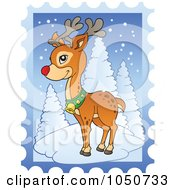 Royalty Free RF Clip Art Illustration Of A Christmas Postage Stamp Of Rudolph