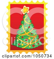 Royalty Free RF Clip Art Illustration Of A Christmas Postage Stamp Of A Christmas Tree