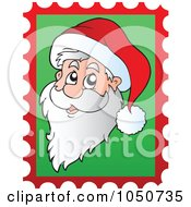 Royalty Free RF Clip Art Illustration Of A Christmas Postage Stamp Of Santa