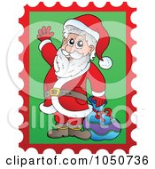 Royalty Free RF Clip Art Illustration Of A Christmas Postage Stamp Of Santa Waving