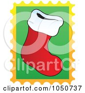 Royalty Free RF Clip Art Illustration Of A Christmas Postage Stamp Of A Christmas Stocking