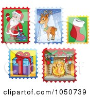 Royalty Free RF Clip Art Illustration Of A Digital Collage Of Christmas Postage Stamps 1