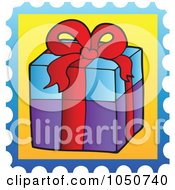 Royalty Free RF Clip Art Illustration Of A Christmas Postage Stamp Of A Gift