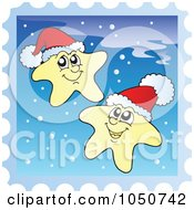 Royalty Free RF Clip Art Illustration Of A Christmas Postage Stamp Of Stars