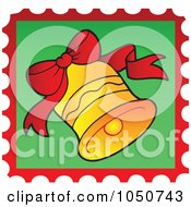 Royalty Free RF Clip Art Illustration Of A Christmas Postage Stamp Of A Jingle Bell