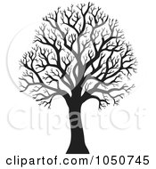 Royalty Free RF Clip Art Illustration Of A Silhouetted Bare Winter Tree