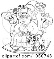Coloring Page Of A Granny With Pets And Children