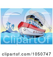Royalty-Free (RF) Clip Art Illustration of a Steam Boat Near A Tropical Island by visekart #COLLC1050747-0161
