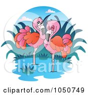 Royalty Free RF Clip Art Illustration Of A Wading Flamingo Logo by visekart