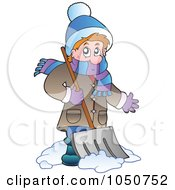 Royalty Free RF Clip Art Illustration Of A Man Using A Snow Shovel