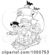 Royalty Free RF Clip Art Illustration Of A Coloring Page Of Pirates On A Ship
