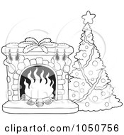 Royalty Free RF Clip Art Illustration Of A Coloring Page Of A Christmas Tree And Fire Place
