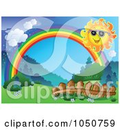 Royalty Free RF Clip Art Illustration Of A Spring Landscape With A Sun Fence Rainbow And Rain