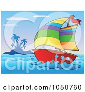 Royalty Free RF Clip Art Illustration Of A Sailboat Near An Island by visekart