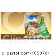 Royalty Free RF Clip Art Illustration Of A Christmas Tree And Fireplace In A Room by visekart