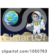 Royalty Free RF Clip Art Illustration Of An Astronaut On A Foreign Planet