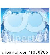 Royalty Free RF Clip Art Illustration Of A Winter Background Of Flocked Trees And A Blank Icy Parchment Sign