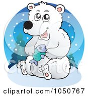 Royalty Free RF Clip Art Illustration Of A Polar Bear Logo by visekart