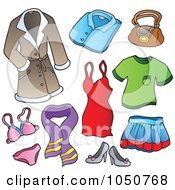 Royalty Free RF Clip Art Illustration Of A Digital Collage Of Female Clothing Items