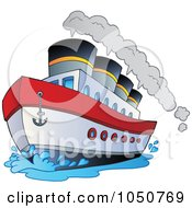 Royalty Free RF Clip Art Illustration Of A Steamship by visekart