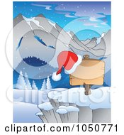 Royalty Free RF Clip Art Illustration Of A Santa Hat On A Blank Christmas Sign In A Mountainous Landscape