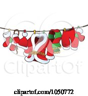 Royalty Free RF Clip Art Illustration Of Santas Laundry Drying On A Clothesline by visekart