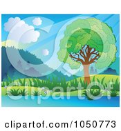 Royalty Free RF Clip Art Illustration Of A Lush Green Riverside Landscape With Sunshine by visekart