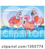 Royalty Free RF Clip Art Illustration Of Three Flamingos Wading by visekart