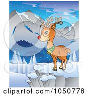 Royalty Free RF Clip Art Illustration Of Rudolph Standing In A Winter Landscape