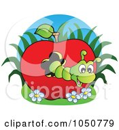 Royalty Free RF Clip Art Illustration Of A Worm In An Apple Logo