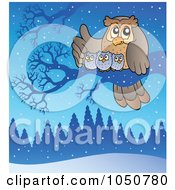 Royalty-Free (RF) Clip Art Illustration of a Owl Family Perched On A Branch In The Winter by visekart